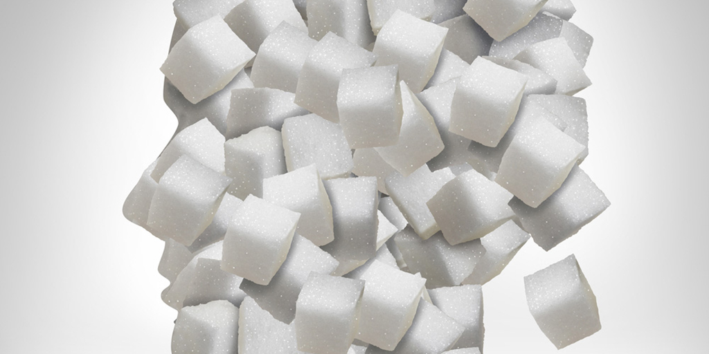 a group of cubed sugar.